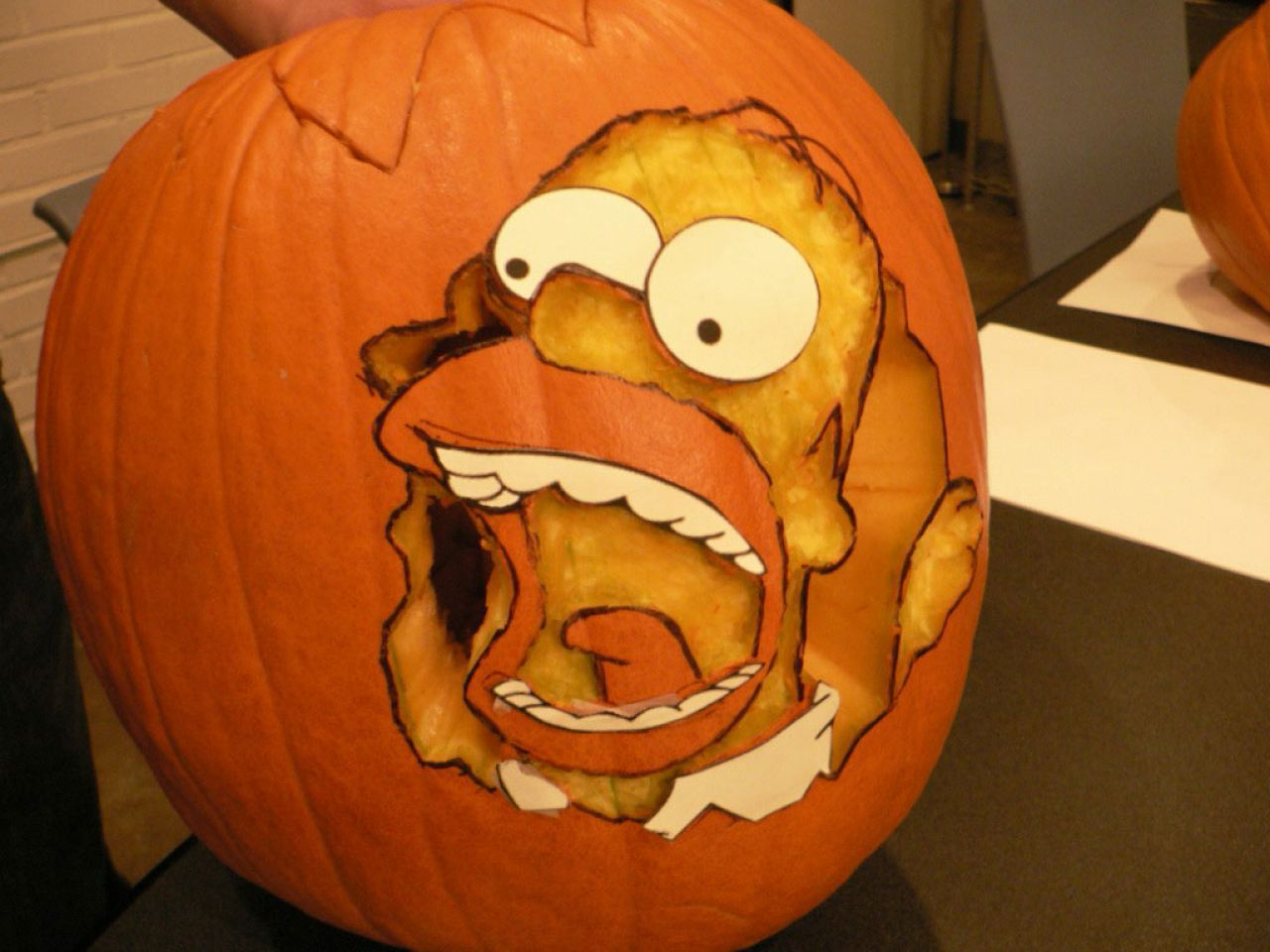 Funny Homer The Simpsons Halloween pumpkin carving | Halloween ...