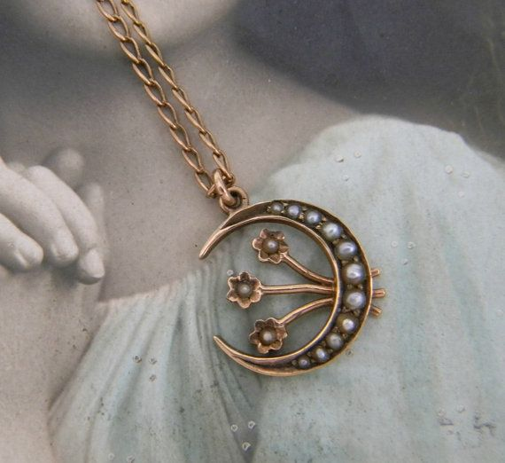 Reserved sold to a via payment plan layaway final payment antique victorian 9ct seed pearl crescent moon flowers pendant necklace uk mozeypictures Choice Image