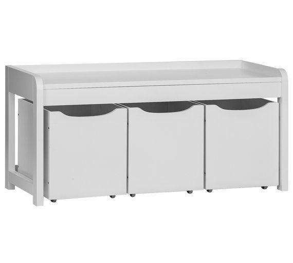 Buy Argos Home Harvard 3 Box Shoe Bench White Shoe Storage