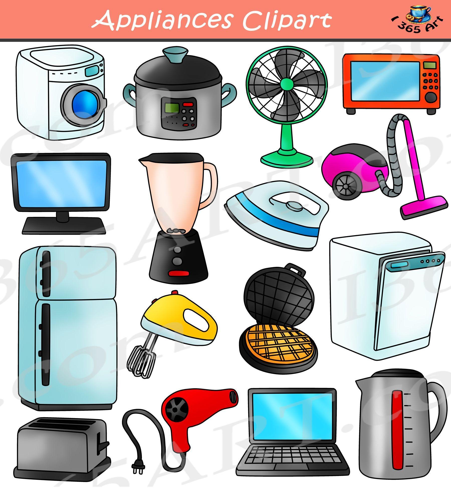 Electrical appliances clipart set digital download for