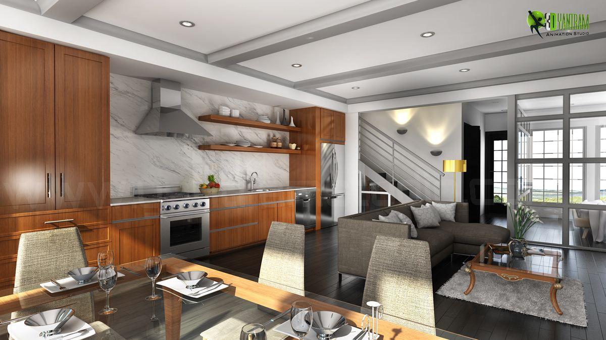 Residential #3D #Interior Kitchen #Design