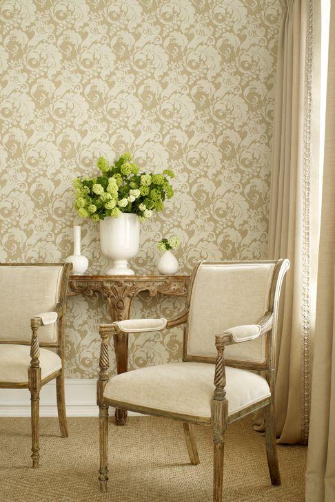 Stroheim Rowley Nonwoven Wallcovering In Taupe Fabric Decor