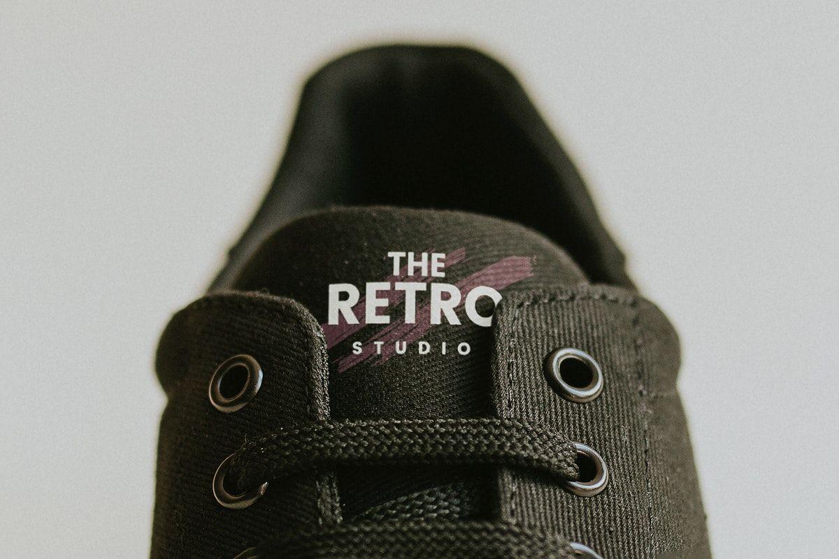 Download Download Premium Illustration Of Black Canvas Sneaker Shoes Label Mockup In 2021 Black Canvas Canvas Sneakers Shoes Sneakers