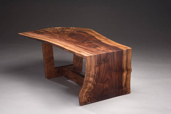 Claro Walnut Live Edge Slab Waterfall Coffee Tables With Images