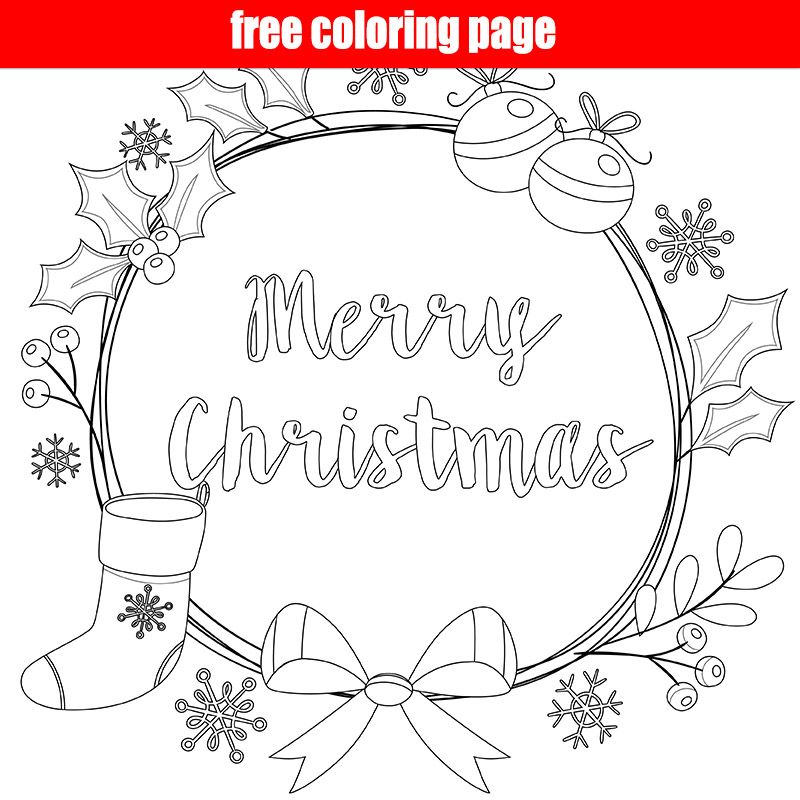 Merry Christmas Wreath Coloring Page Merry Christmas Coloring