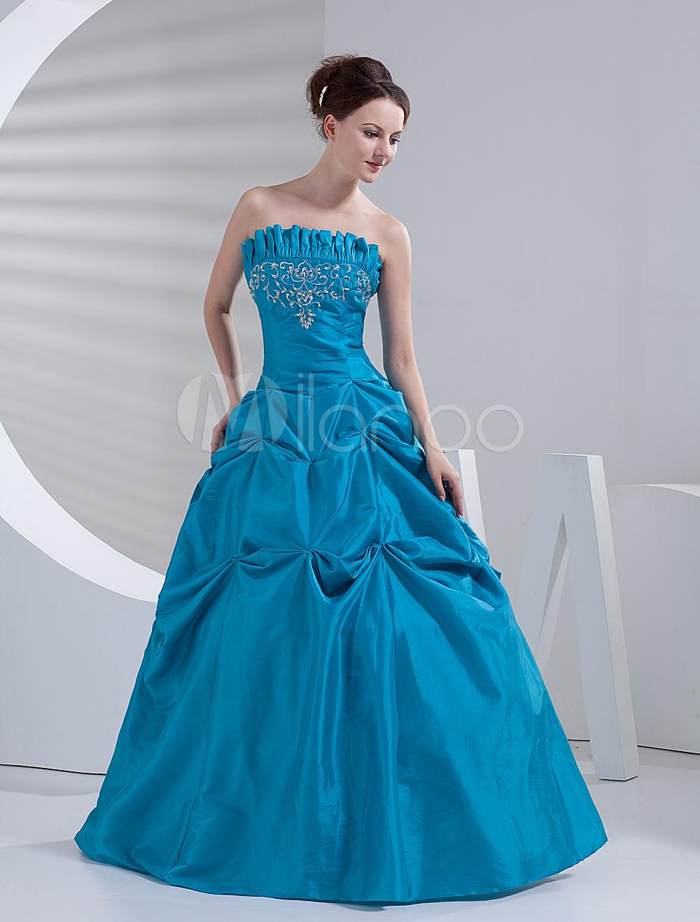 Classic ball gown blue taffeta quinceanera dress clothing