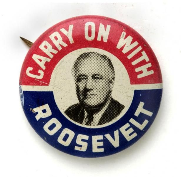 Pin On Campaigns: Carry On With Roosevelt Button. Metal. New-York Historical