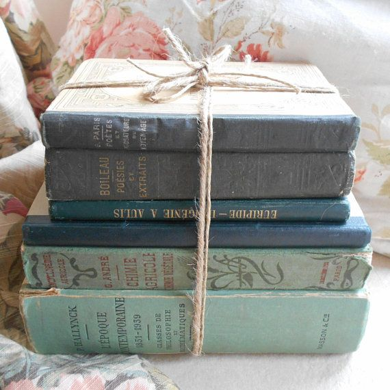 antique french sea green inky blue book bundle vintage book stack rh pinterest com French Parisian Decor Rustic French Country Cottage Decor