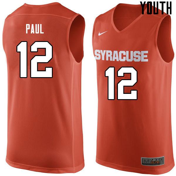 Youth 12 Brendan Paul Syracuse Orange College Basketball Jerseys Sale Orange College Basketball Jersey College Basketball College Basketball Shirts