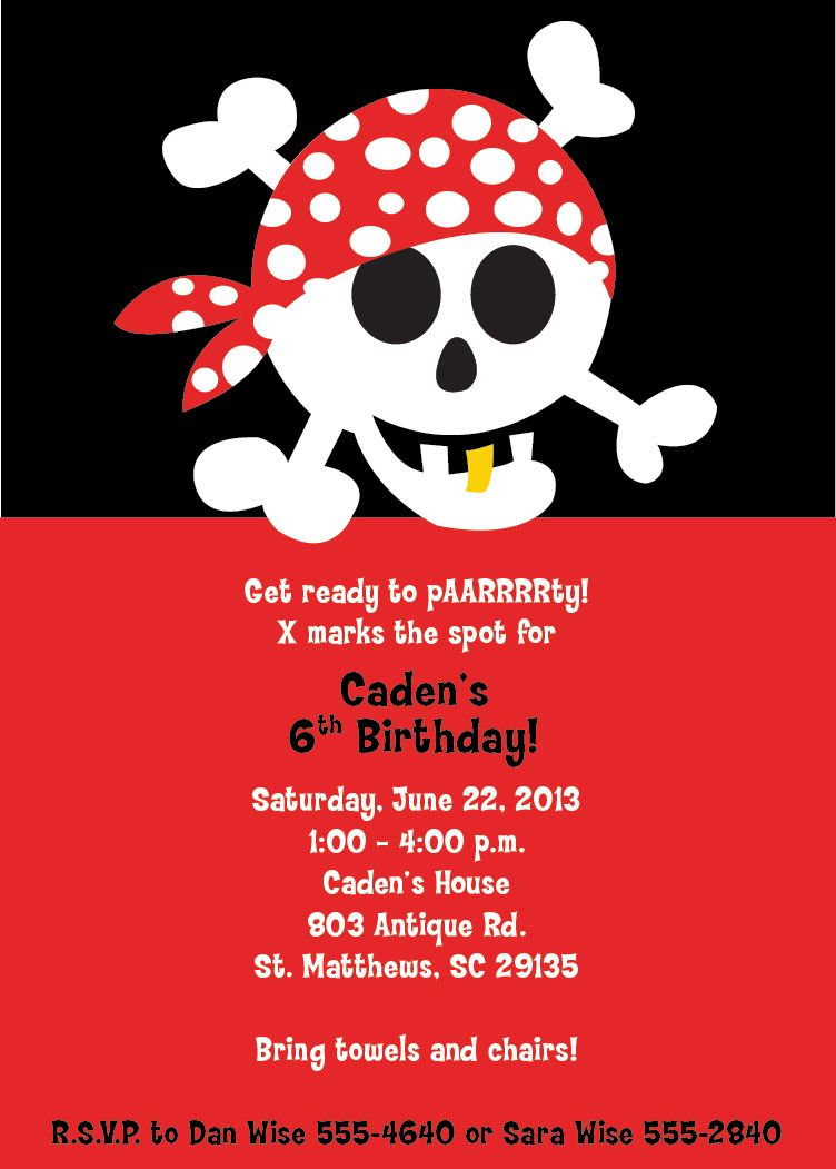 Pirate Party Invitation Arrg Skull Crossbones Bandana Boy Party Kid ...