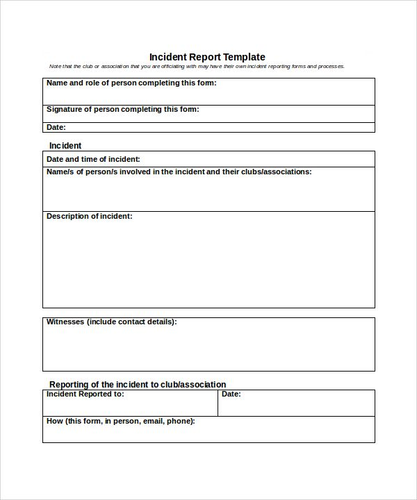 Sample Incident Report Template  Free Download Documents In Word