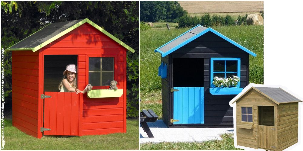 Un Peu De Peinture Et La Maisonnette Coccinelle Est Visiblement Transformee La Maisonnette Non Peinte Est E Maisonnette En Bois Cabane Bois Enfant Maison Bois