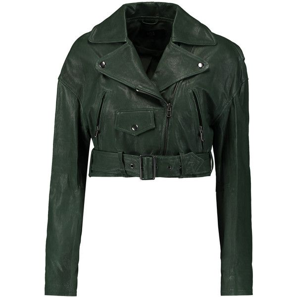 Tibi - Anesia Cropped Belted Leather Jacket (€500) ❤ liked on Polyvore featuring outerwear, jackets, green, cropped jacket, real leather jackets, pocket jacket, green waist belt and asymmetrical zipper jacket