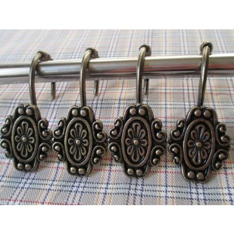 12 Pcs  Flower Decorative Rolling Shower Curtain Hooks Rings Best Rustic Bathroom Hardware Review
