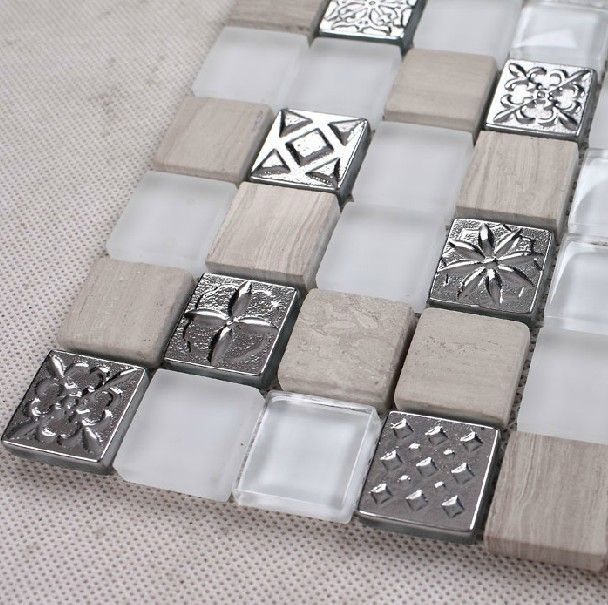 White Stone And Glass Mosaic Tile Backsplash SGMT061 FREE SHIPPING Marble  Tiles Kitchen Glass Tile Mosaics