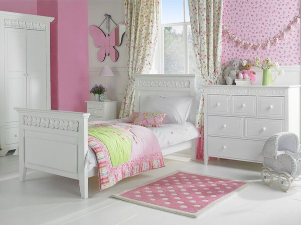 Charming Kids Bedroom, Pretty Kids Bedroom Furniture Design With Decorating Wall  Ideas Wooden Girl Single Bed Bedding Curtain Window Dresser Storage Floor  Headboard ...