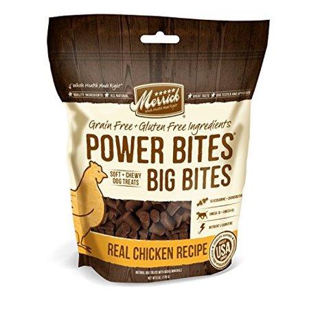 Merrick Power Bites Grain Free Big Bites Real Chicken Recipe Dog Treats 6 Oz Dog Treats Grain Free Dog Treat Recipes Dog Food Recipes