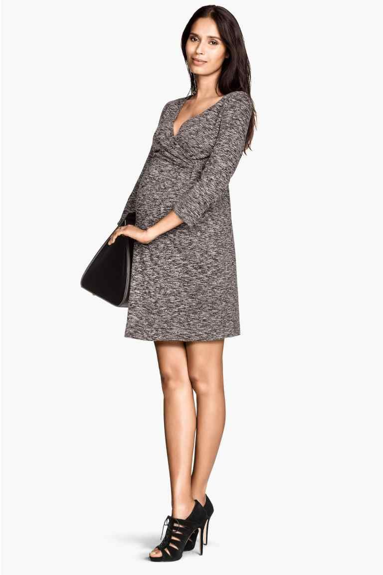 Mama vestido cruzado hm pregnancy looks pinterest robe dress in jersey with sleeves wrapover front section and decorative knot detail at one side ombrellifo Choice Image