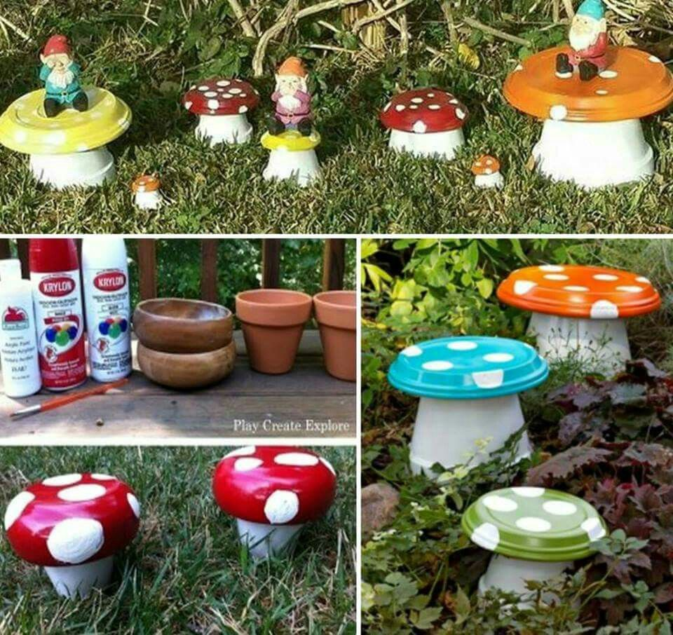 Diy garden ideas pinterest  I love the gnomes sitting on top  Reciclaje creativo  Pinterest