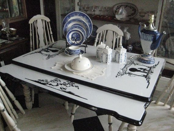 1930 S Enamel Top Country Kitchen Table Chairs Set Oriental Silhouette Design Vintage Tables