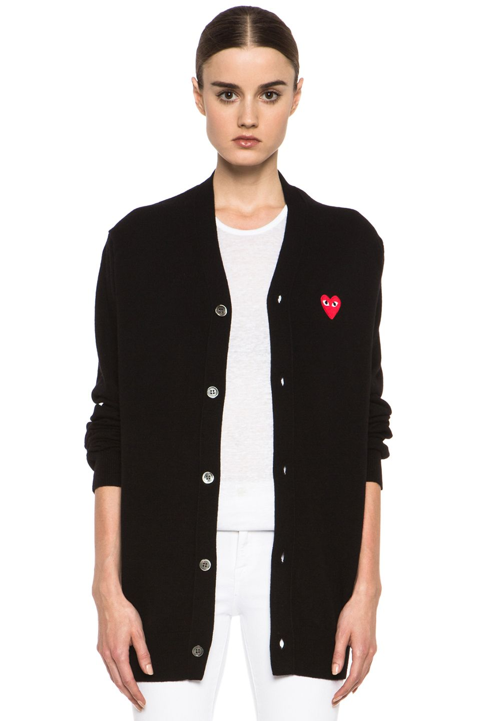 Comme Des Garcons PLAY|Wool Red Heart Emblem Cardigan in Black ...