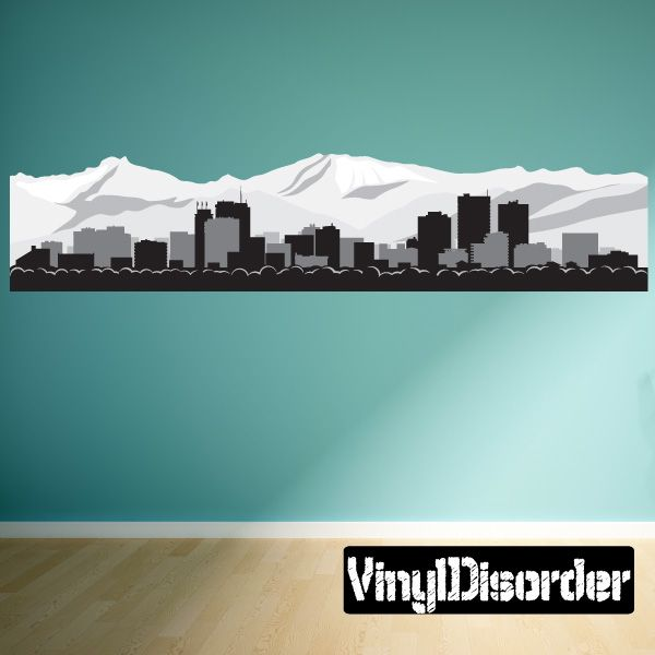Anchorage alaska skyline vinyl wall decal or car sticker ss086