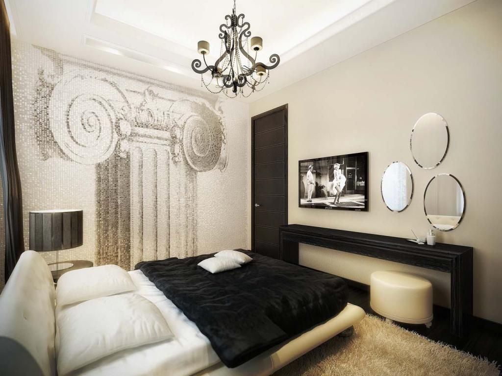 Fascinating Apartment Bedroom Decor With Black White Bed Upper Beige Fur Rug As Well Three Round