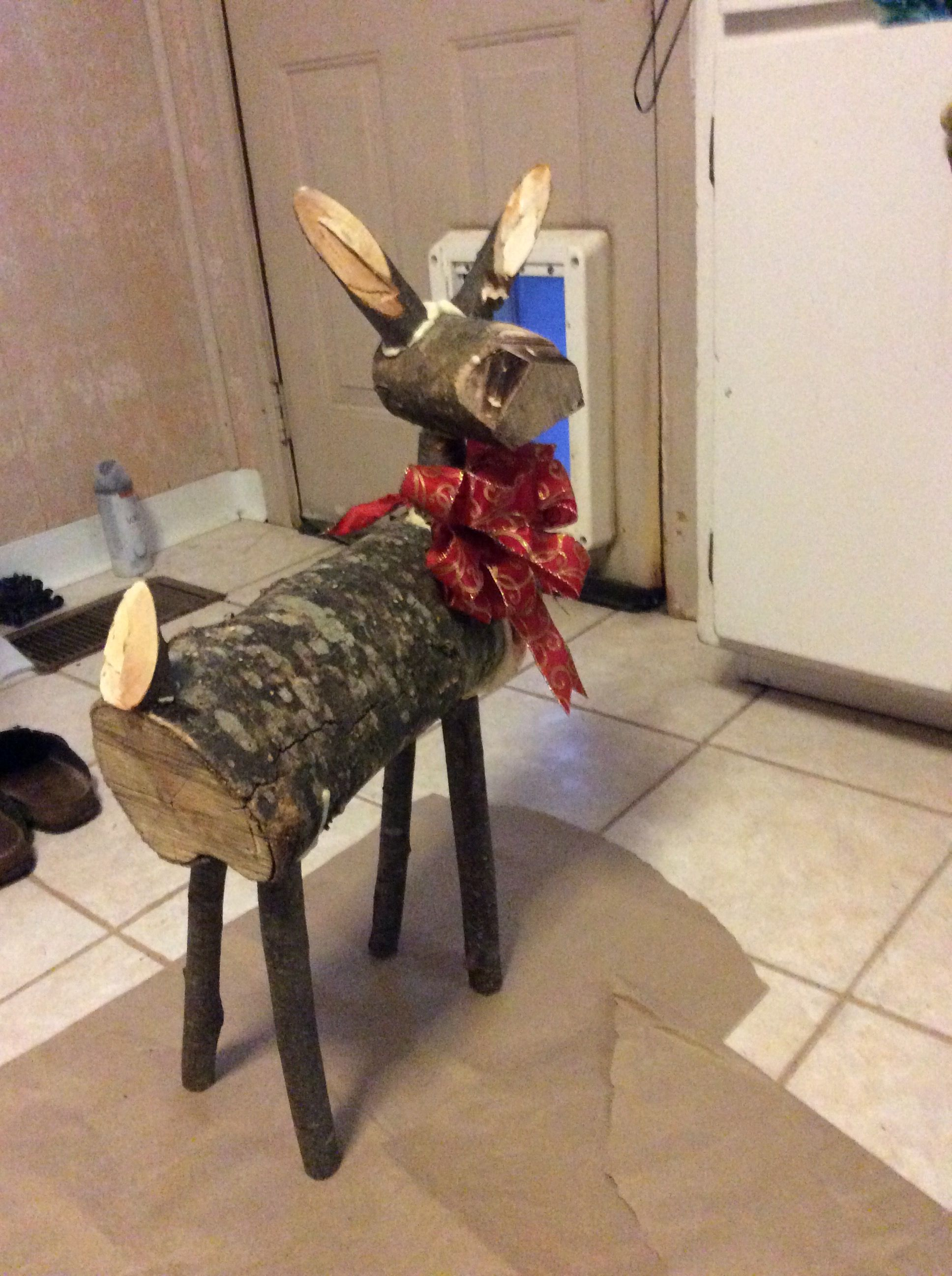 reindeer made from logs my diy version of pintrest