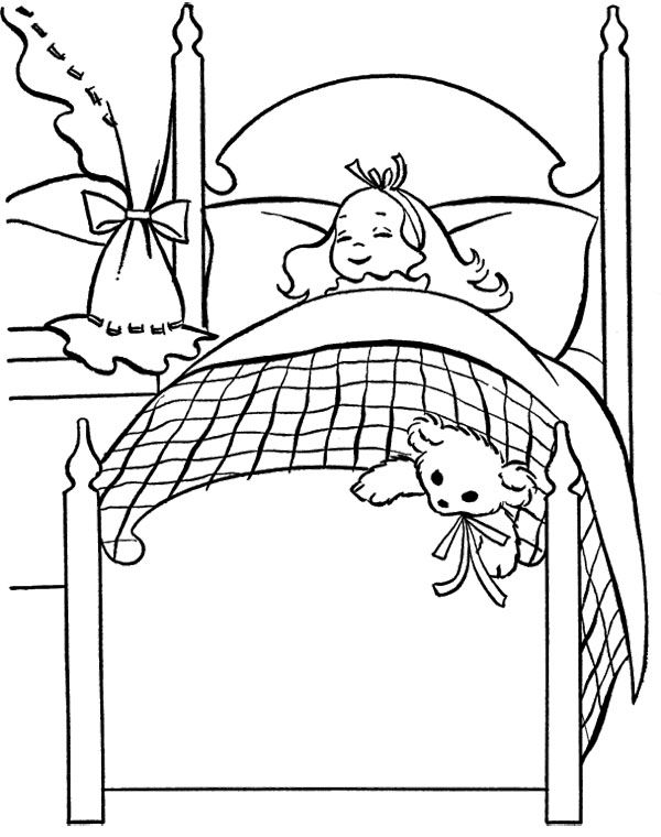 The Girl Sleep Christmas Eve Coloring Page Christmas Eve