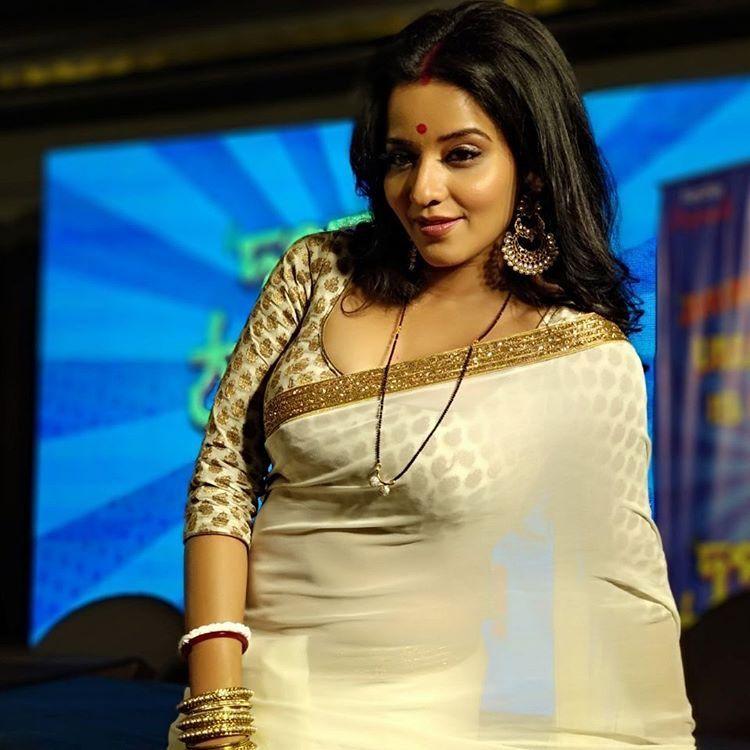 Monalisa In Transparent Saree Exposing Melons Bengali Actress Indian Filmy Actress