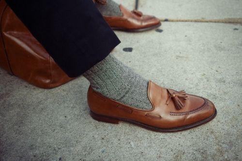 Tassle loafers   Grey socks