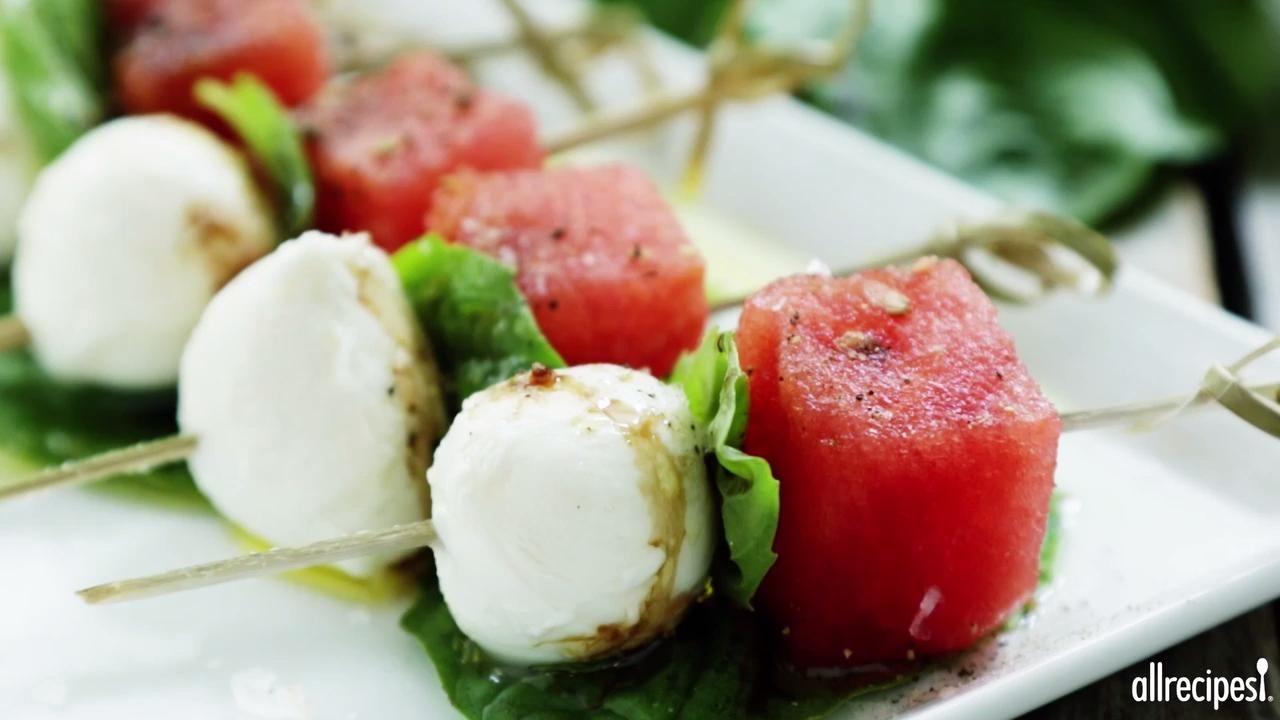 Watermelon Caprese Appetizer Video   Caprese appetizer ...