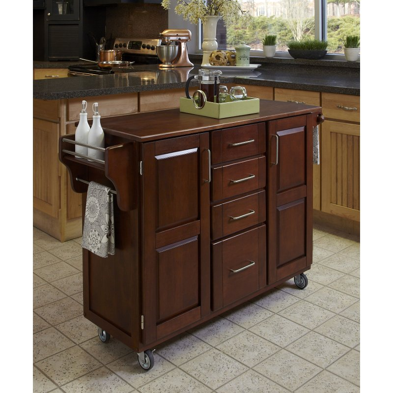 Cherry Finish With Oak Top Kitchen Cart Create A Cart Kitchen Island Design Custom Kitchen Island Kitchen Tops