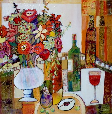 Wonky Pots Wine And Flowers Linda Bell Painting Farm Art Collage Artists