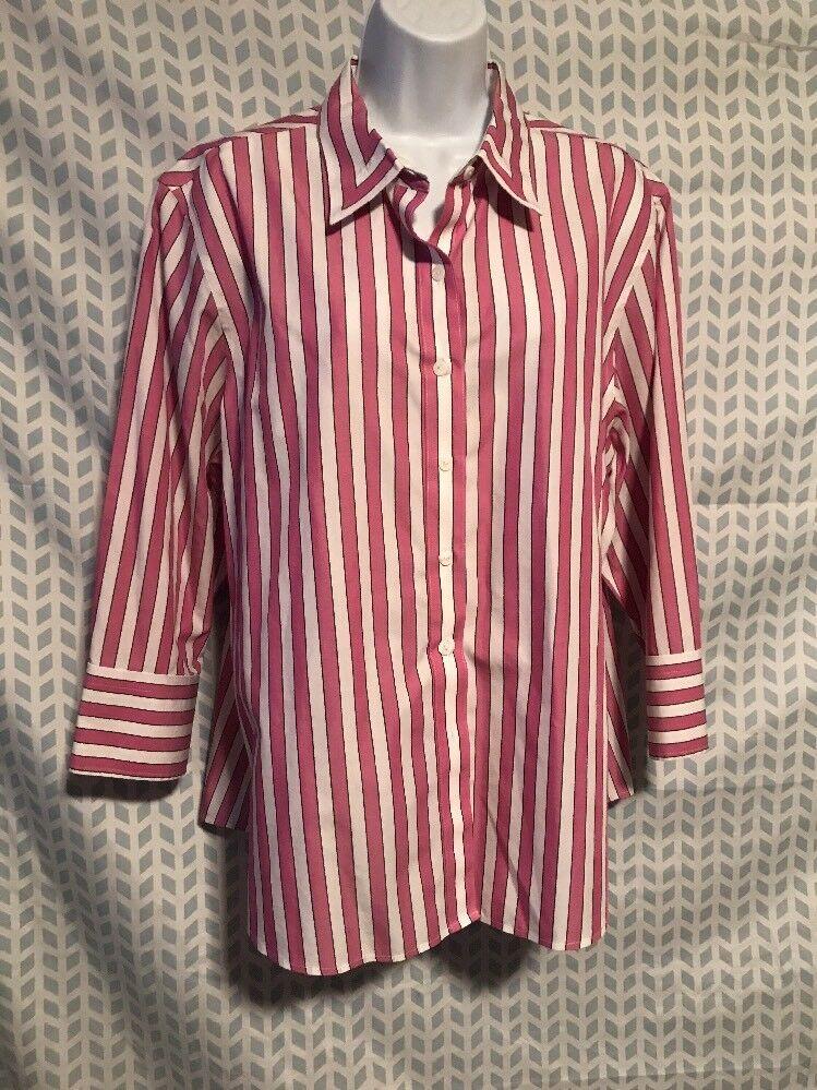 a951bac6a Foxcroft Women 18 Pink White Stripe Non Iron Shaped Fit Button Down Shirt  095 | eBay