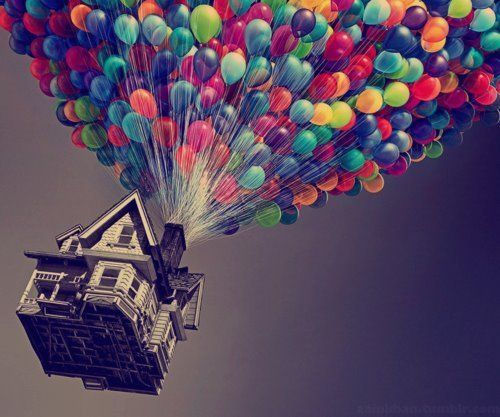 Reminds me of the way the house on THE WIZARD OF OZ  flies up, up, and away...minus the balloons! lol.