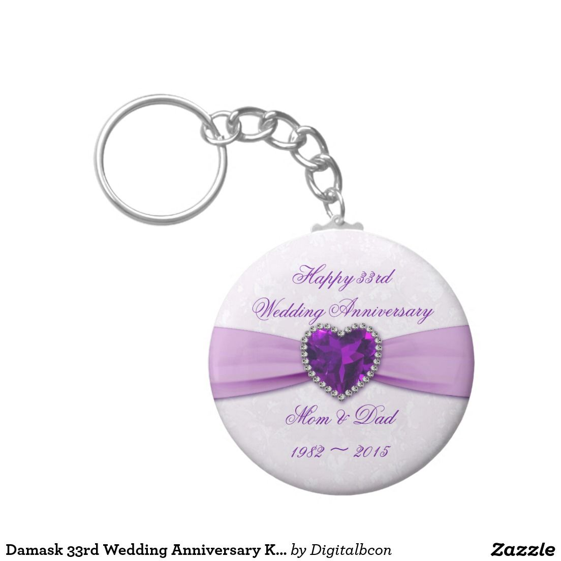 Damask 33rd Wedding Anniversary Key Chain 33rd Wedding Anniversary