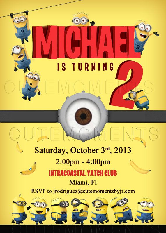 the minions invite - minions birthday party - despicable me, Birthday invitations