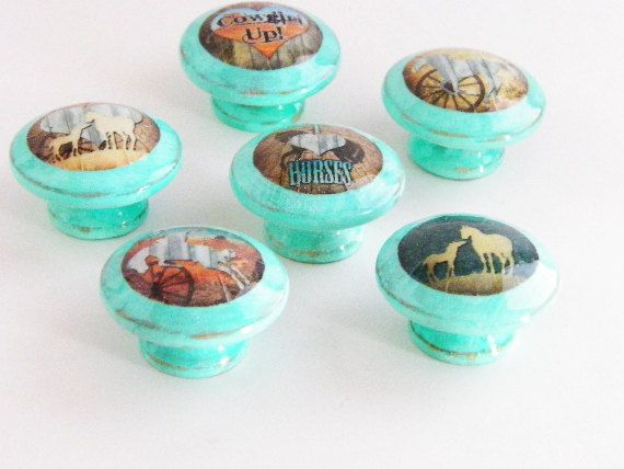 Set Of 6 Horse Theme Dresser Knobs..Rustic Distressed Turquoise Furniture U0026  Cabinet Pulls Cowgirl Decor Cabinet Hardware