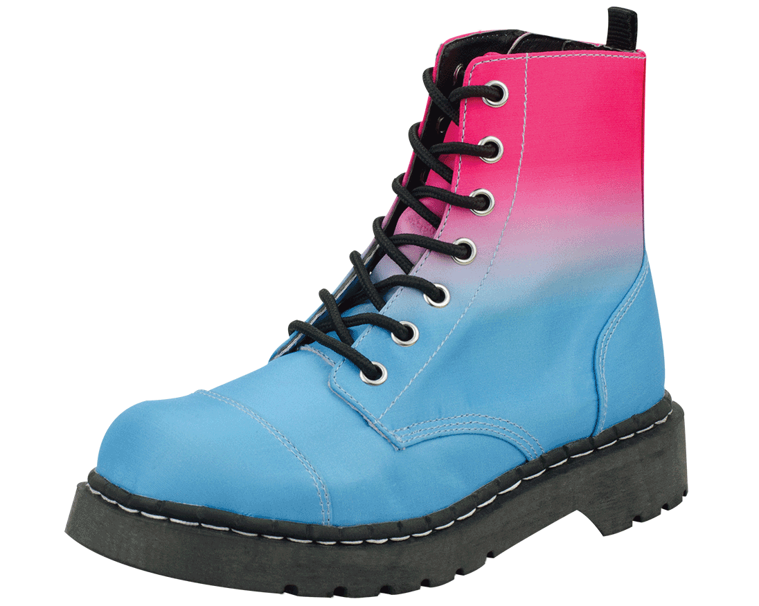 T.U.K. Shoes / pink blue ombre anarchic boots.