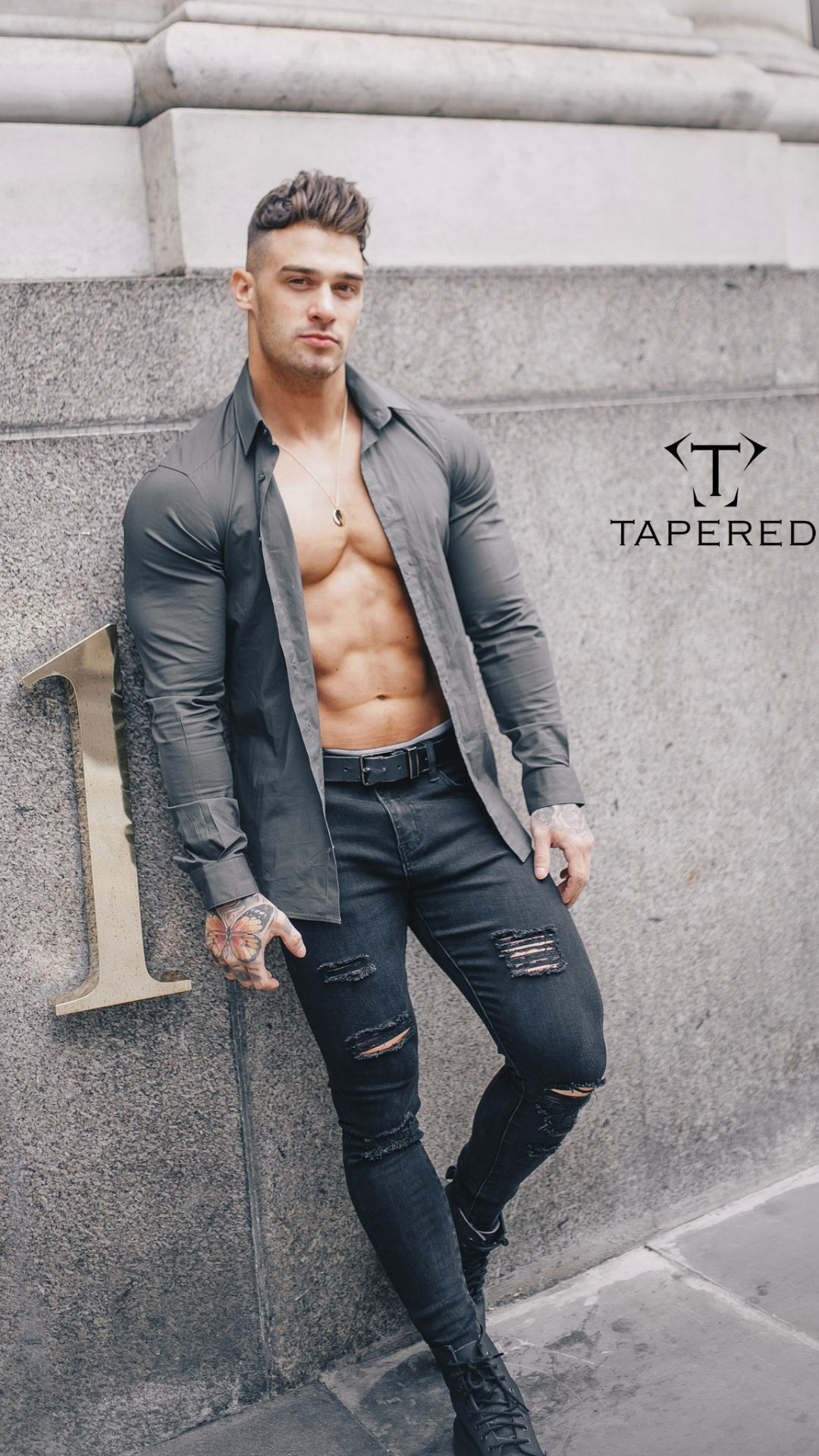 Olive Tapered Fit Shirt In 2020 Mens Outfits Workout Shirts