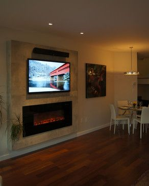 Electric fireplace and TV wall Basement makeover