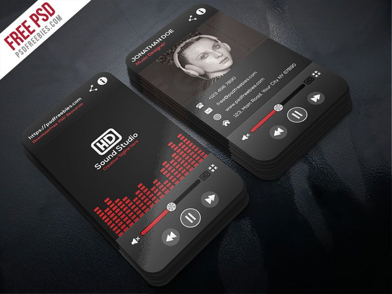 Music Player Style Business Card Template PSD | Card templates ...
