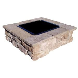 Fossill Stone Brown Square Fire Pit Kit FBSFP At The Home Depot