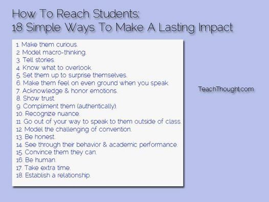 18 ways to make a lasting impact with students