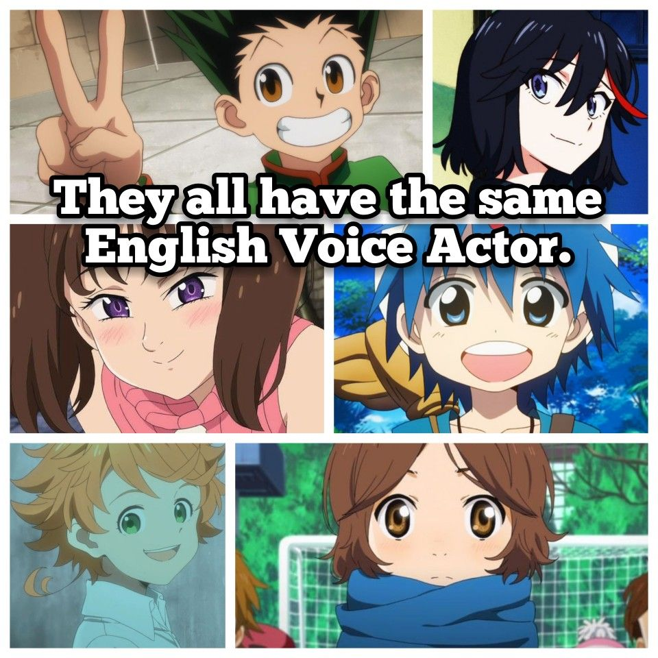 Anime characters with the same voice actor anime dubbed