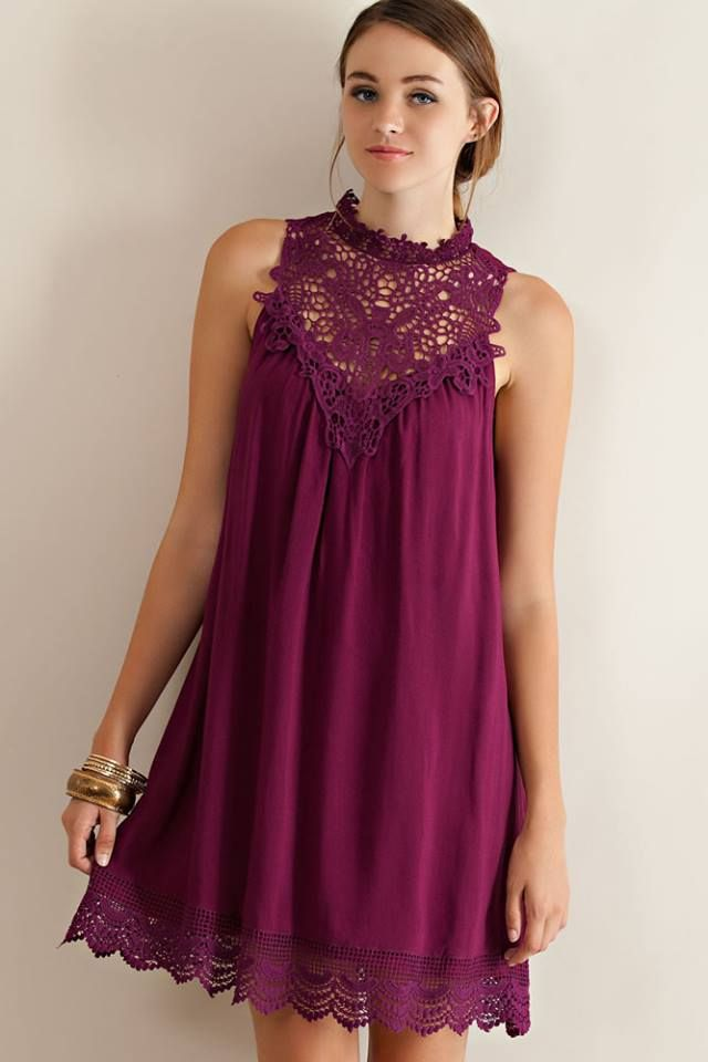 Purple sleeveless dress with lace detail