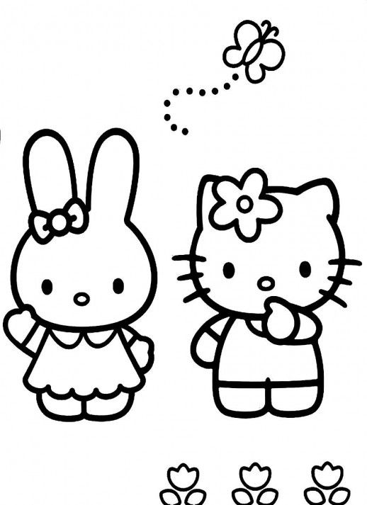 Hello Kitty And Bunny Playing With A Butterfly Coloring Pages
