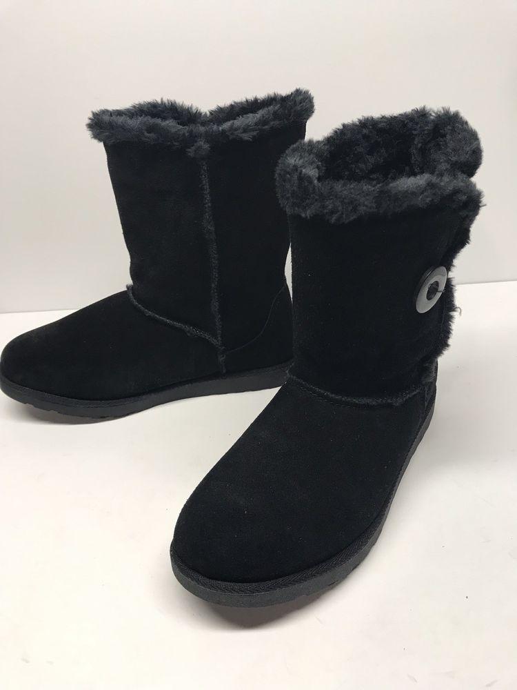 WOMENS Black Fuzzy Warm Boots Size