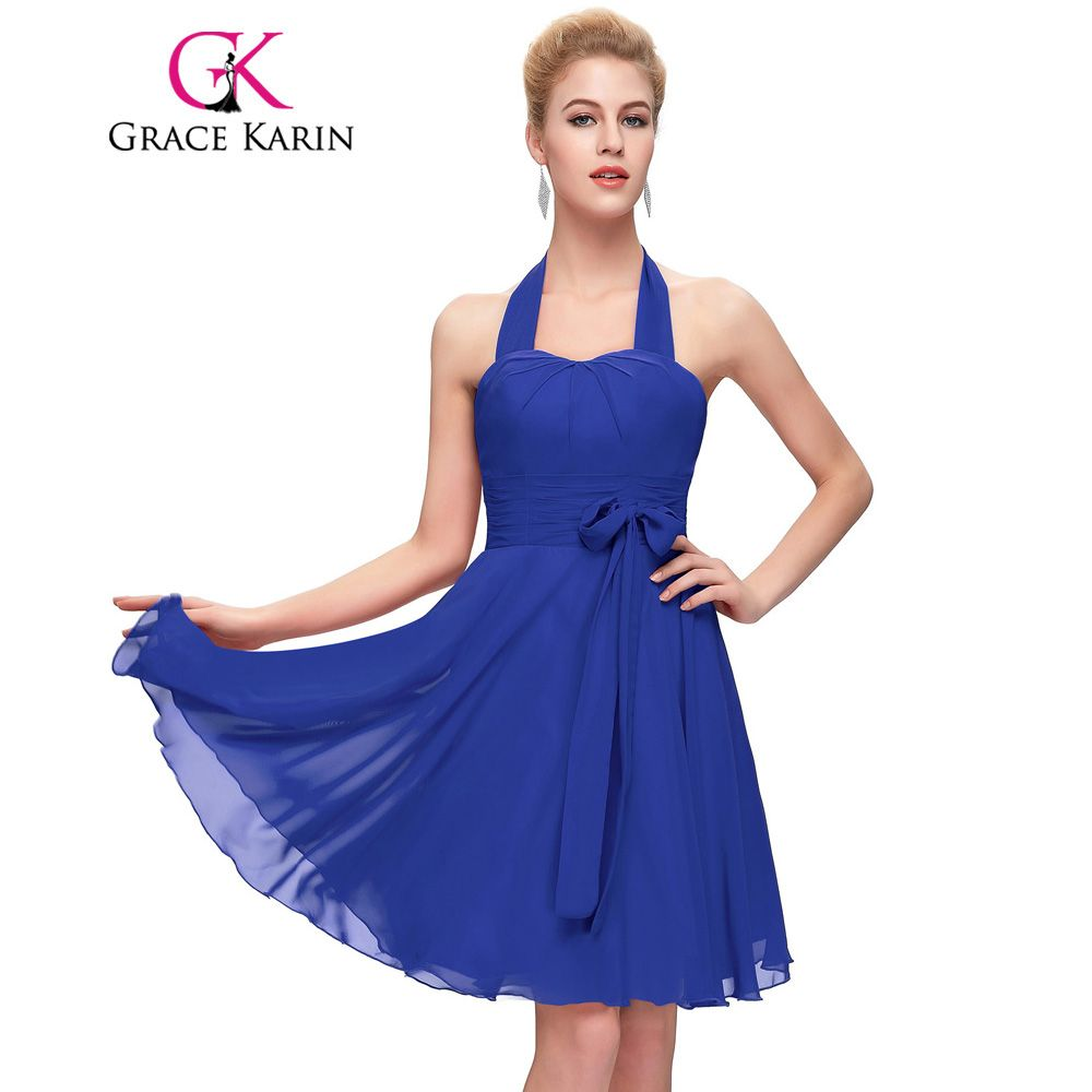Grace karin prom dresses chiffon halter pink red blue elegant